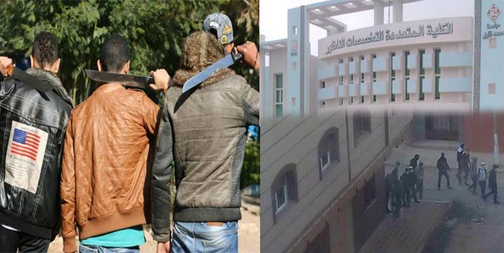 خطير بالصور… ملثمون يهجمون على كلية سلوان بالأسلحة البيضاء