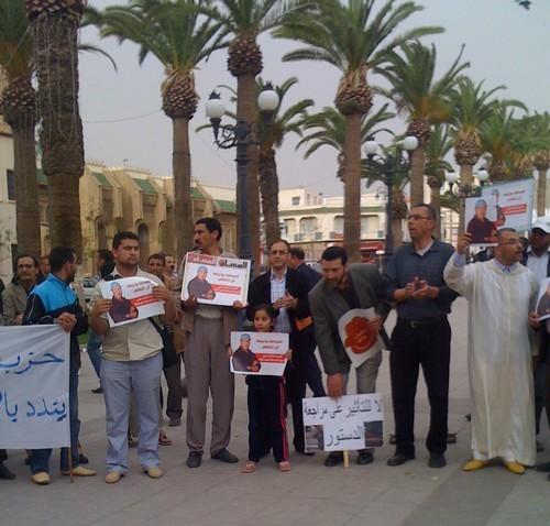"""وقفة تضامنية بمدينة وجدة من أجل إطلاق سراح مدير نشر يومية """"المساء"""" رشيد نيني"""