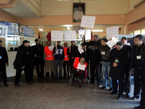 مياومو المحطة الطرقية باسفي يحتجون