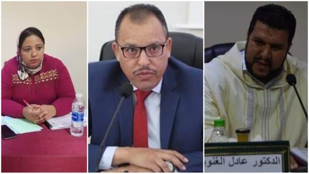 الدكتور أحمد خرطة يهنىء كل من  الدكتور عادل الغنوبي والدكتورة خديجة علاوي لحصولهما على شهادة التأهيل الجامعي