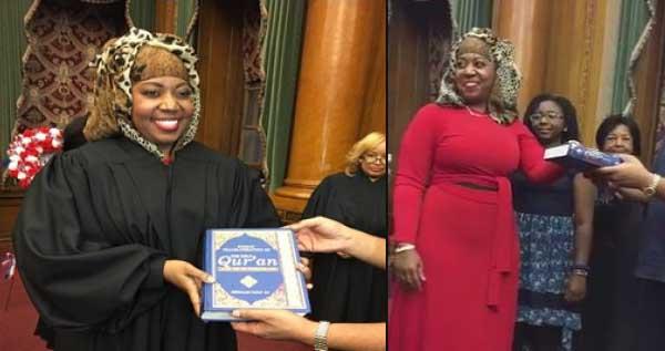 فيديو قاضية أميركية تؤدي اليمين القانونية على القرآن الكريم