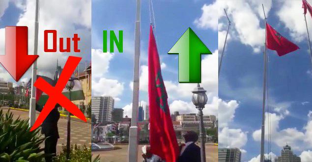 """الفيديو الذي هز الجزائر اليوم .. رفع العلم المغربي في عاصمة كينيا و إنزال """"شرويطة"""" البوليساريو"""