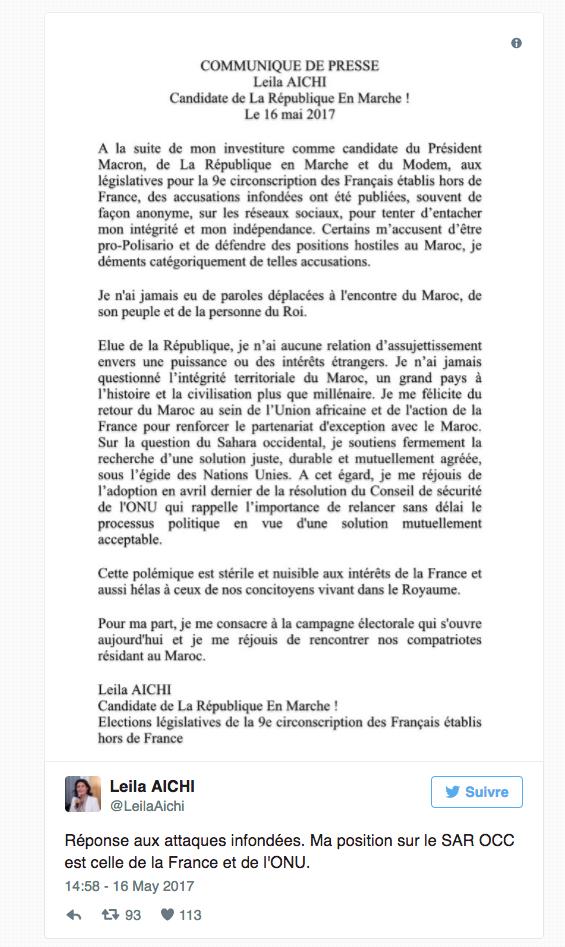 """بعد تعرضها لهجوم لاذع في المغرب، مرشحة ماكرون في الانتخابات التشريعية تنفي دعم """"البوليساريو""""   المزيد"""
