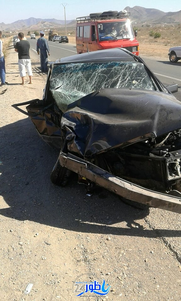 فاجعة بالصور:قتيل و جرحى في حادثة سير خطيرة على طريق الدريـوش