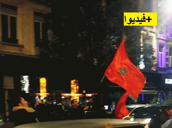 احتفالات الجماهير بالمغربية بدينهاخ الهولاندية عقب تأهل المنتخب لكأس العالم