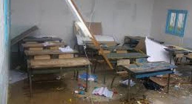 الناظور تنجو من كارثة: سقوط سقف قسم بمدرسة الشريعة بترقاع