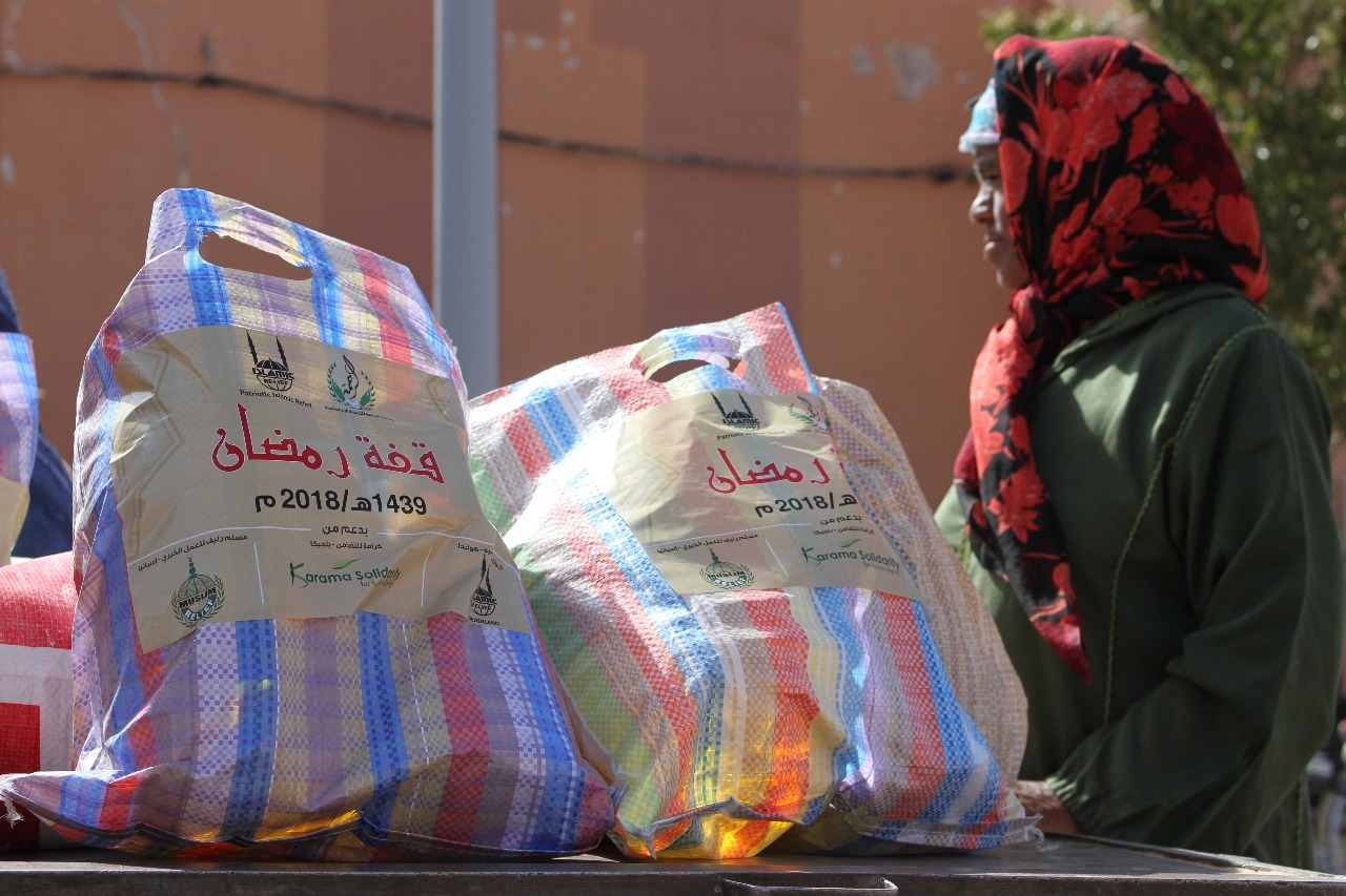 الإغاثة الإسلامية و جمعية الرحمة  تختتمان عملية افطار الصائم الرمضاني 2018 من توزيع 400 قفة  ببوعرفة