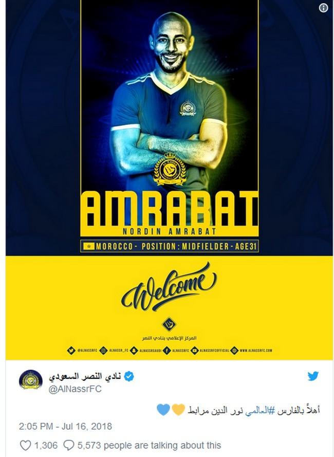 رسميا..نور الدين أمرابط يتعاقد مع نادي النصر السعودي