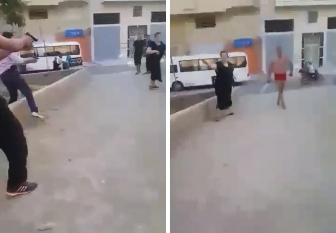 بالفيديو/الأمن يعتقل 'القرع'  وشقيقته بعد مهاجمة الشرطة بالسيوف