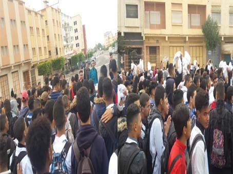 تلاميذ ثانوية الحساني سلوان ينتفضون ضد قرار التوقيت الجديد