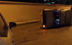 نجاة سائق من الموت بحادثة سير خط